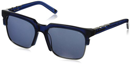 Pared Eyewear Day and Night Navy with Gunmetal Rim Wire Solid Grey Square Sunglasses, Brown Gradient Lenses, 21 - Pared Sunglasses