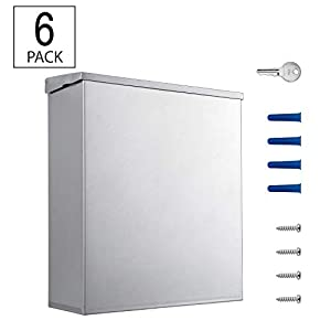 (1 Pack/ 6 Pack) Sanitary Napkin Disposal with Key and Lock - 304 Grade Heavy Duty Stainless Steel - 1.8 Gallon Capacity