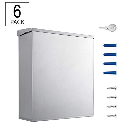 Pack of 6 - Sanitary Napkin Disposal - 304 Grade Stainless Steel - 1.8 Gallon Capacity by Dependable Direct