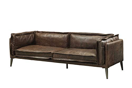 - HomeRoots Furniture Sofa in Distressed Chocolate Top Grain Leather, Metal, Wood, Foam, Down Feather (318818)