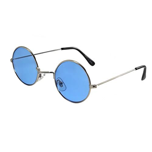 Blue Tinted Round Retro Costume Accessory Hippie Glasses