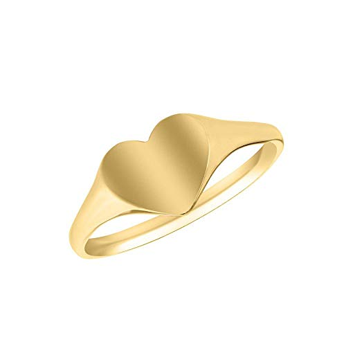 (Children's Jewelry - 10K Yellow Gold Heart Signet Ring Size 4 1/2 With Engraving)