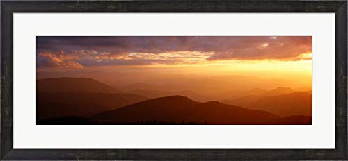 Sunset Over Great Smoky Mountains, North Carolina by Panoramic Images Framed Art Print Wall Picture, Espresso Brown Frame, 34 x 16 inches -