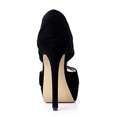 LvYuan Mujer-Tacón Stiletto-Confort-Sandalias-Oficina y Trabajo Vestido Fiesta y Noche-Terciopelo-Negro Black
