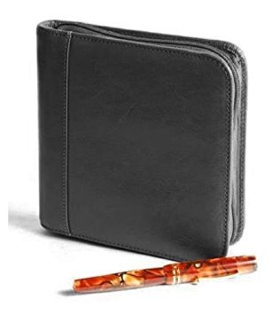 Aston Leather Collectors Zippered 6-Pen Case (Black)