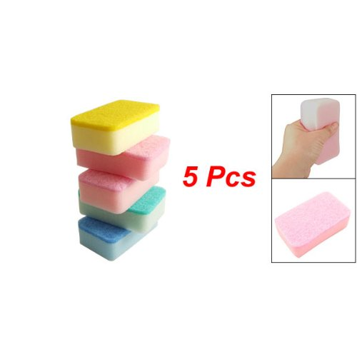 SODIAL(R) Home Kitchen Dish Bowl Cleaning Two Texture Sponge Pad 5 Pcs by SODIAL(R) (Image #1)