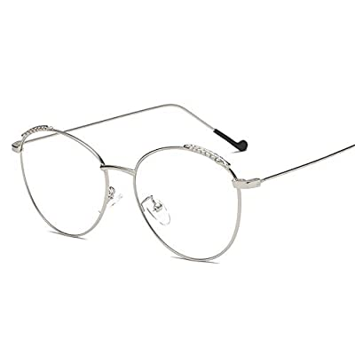 FeliciaJuan Adult Glasses Personality Grain Flat Light Feathers Glass Frame General Computer Goggles Men and Women