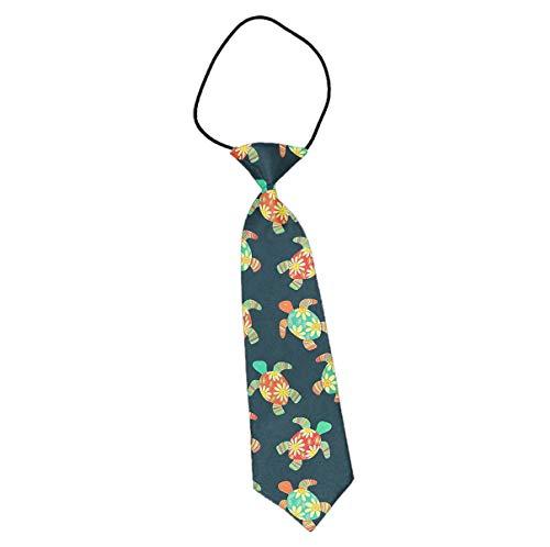 (Cute Turtle Flower Tortoise Shell Hippy Turtles Boys Novelty Necktie Formal Wear Pre-Tied Kids Neckwear Ties)