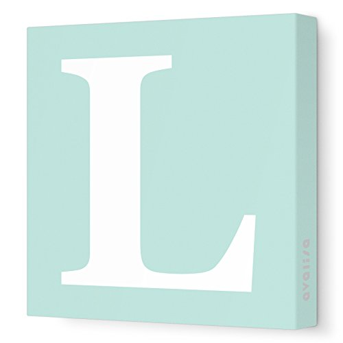 Avalisa Green - Avalisa Stretched Canvas Upper Letter L Nursery Wall Art, Seagreen, 12