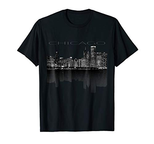 - Chicago City Skyline Lights at Night T shirt