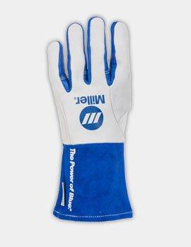 Welding Gloves, M, Wing, 11In, White/Blue, PR