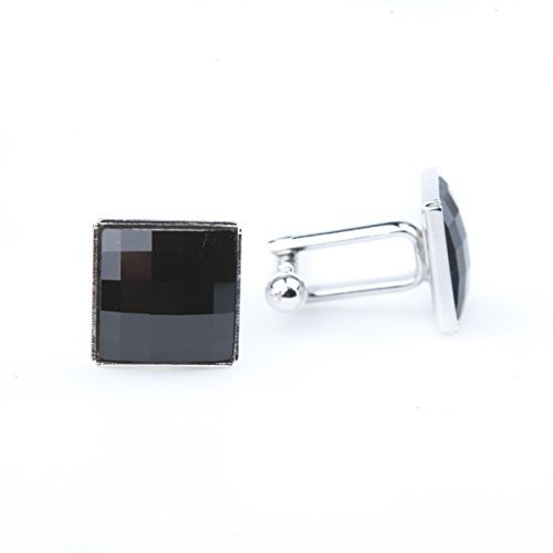 (Men's Cuff links handmade with original Swarovski crystals - Black Checkered Rhinestones, Rhodium plated, Jet Glass Fashion jewelry & Elegant gift box included with each pair of links)