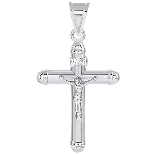 14k White Gold Rounded Edge Christian INRI Crucifix Tube Cross Pendant