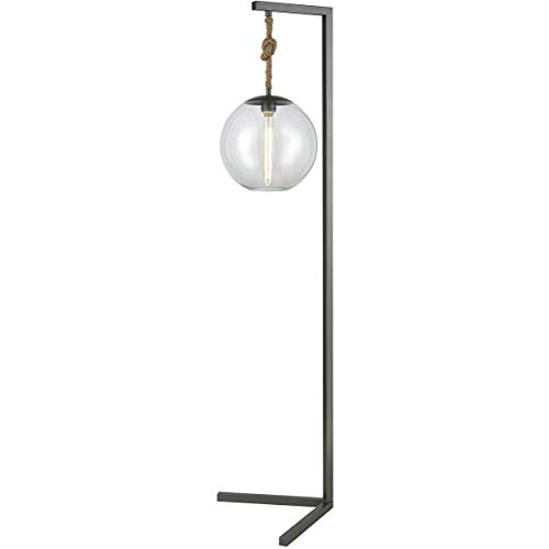 (Floor Lamps 1 Light Fixtures with Pewter Finish Metal/Glass/Rope Material E26 Bulb 19