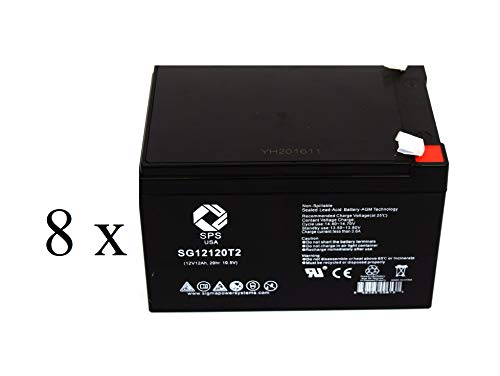 SPS Brand 12V 12Ah Replacement Battery for Peg Perego Vespa Scooter (8 Pack) ()