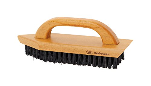 Redecker Natural Pig Bristle Shoe Brush with Waxed Beechwood Handle, 7-7/8-Inches, Black