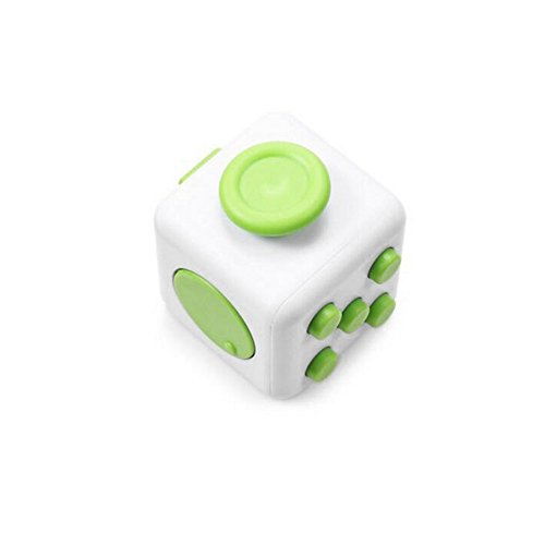 Stress Relief Fidget Cube Toy: Fidget Toy for Relaxing Therapy Cube Fidget Toy – Great Gift for Autism, ADD, ADHD – Fidget Toys for Work/Office/Home (1 PACK, White - Green)