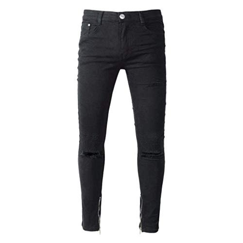 Da Ripped Jeans Straight Uomo Holes Chern Pantaloni Streetwear Mitlfuny Destroyed Di Strech Vintage Originale Iphop Jeans Slim Fit Skinny Nero Stretch Denim 6qTw7X75
