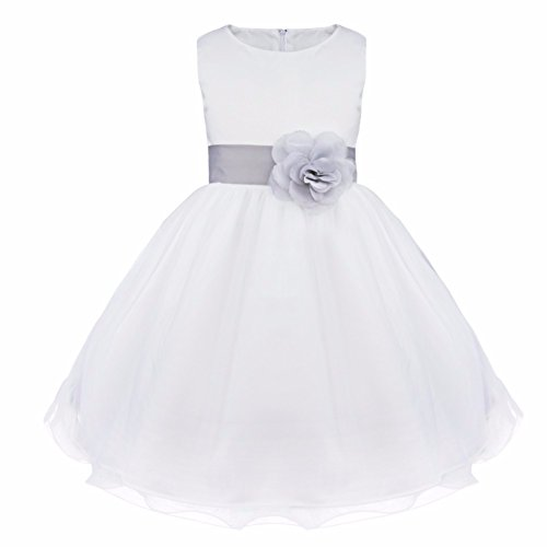 (FEESHOW Satin Bodice White Communion Flower Girl Wedding Party Pageant Dress Grey 6)