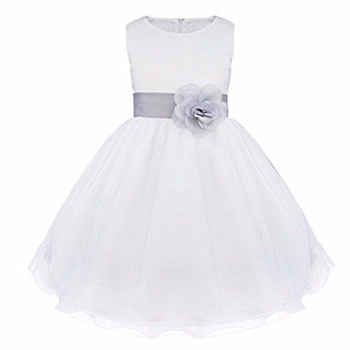 FEESHOW Satin Bodice White Communion Flower Girl Wedding Party Pageant Dress Grey -