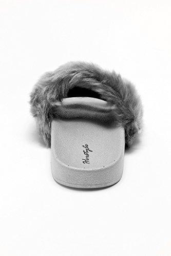 Herstyle Dames Sl-160801 Faux Fur Slide Sandaal Grijs