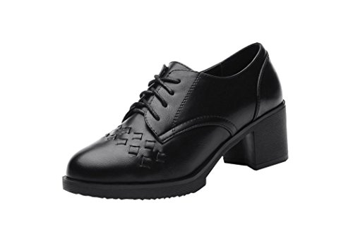 Ryse Women's Temperament Small Leather Shoes Lozenge Patterned Lace-up Rough Heels(39 M EU / 8 B(M) US, Black)