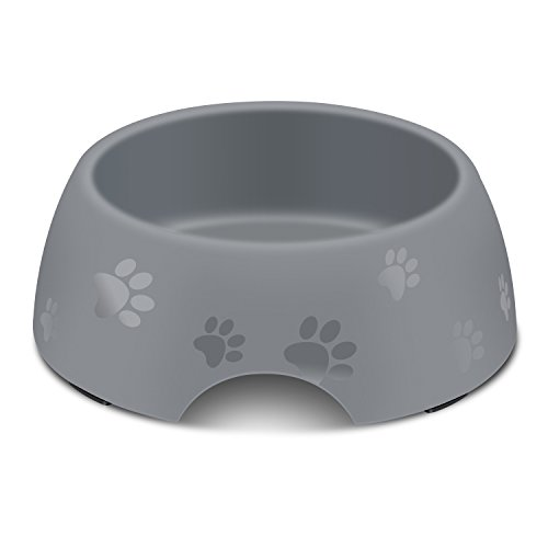 AEMIAO Heavy Duty Melamine Dog Bowl Non-Skid Silicone Rubber Round Bowl Doggie Food Water Feeder Puppy Dish with Cute Paw Painted for Small Medium Dogs Puppy Animals