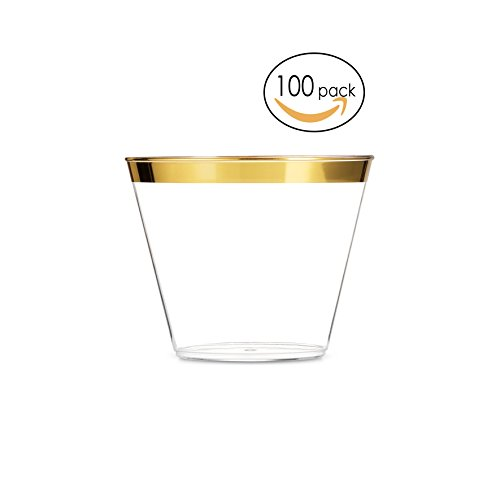 EcoEarth Gold Plastic Cups 9 oz (100 Pack)/Clear Plastic Party Cups/Wedding Cups/Gold Rimmed Plastic Cups/Gold Party Cups/Gold Rim Plastic Cups/Gold Disposable Cups/Disposable Party Cups