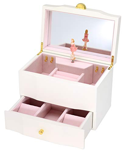 Attii Wooden Musical Jewelry Box for Girls with Drawer and Large Mirror, You are My Sunshine Tune (Blonde) Ballerina Treasure Music Box