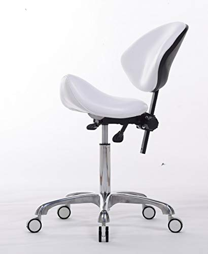 FRNIAMC Adjustable Saddle Stool Chairs With Back Support Ergonomic Rolling Seat For Medical Clinic Hospital Lab Pharmacy Studio Salon Workshop Office And Home ... (With Backrest, White)