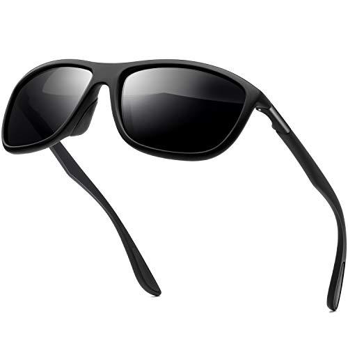 Rectangular Sports Fashion Polarized Sunglasses - KANASTAL Durable Lightweight Sun glasses for Men and Women KU1907?Matte Black Frame Black Lens?