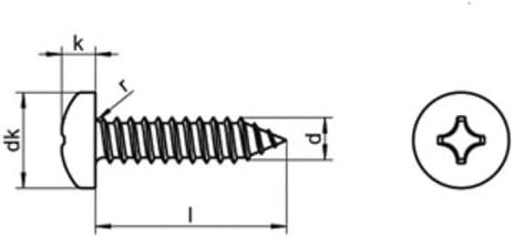 SC7981 Innensechsrund Antrieb TX - Edelstahl A2 V2A ISO 14585 mit Spitze Blechschrauben mit Linsenkopf 25 St/ück - Form C 5,5x32 - - - DIN 7981