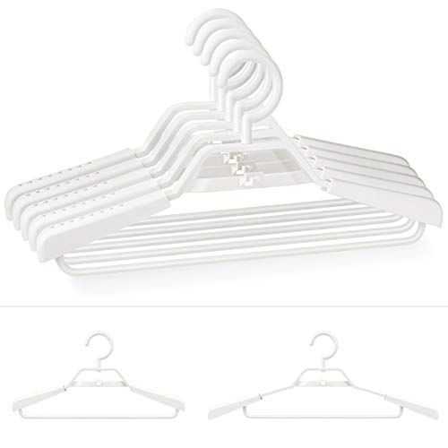 "HOSUE Day Clothes Hangers Eco-Friendly 100% PP New Material Extra Wide Adjustable Shoulder Suits Coats Cascading Hangers Heavy Duty 15""-20"" Plus Size Garment Plastic Hangers with Swivel Hook 5 Pac"
