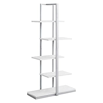 Monarch Bookcase – 60 H Silver Metal, White