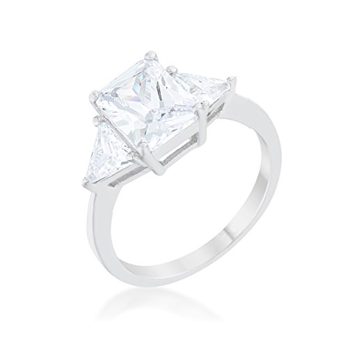 - Rhodium Plated Classic Engagement Ring With Clear 4.5ct Radiant Cut And Trillion Cut CZ Size 6