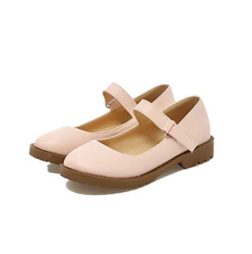 Odomolor Women's Solid PU Low-Heels Round-Toe Hook-and-Loop Pumps-Shoes, Pink, 35