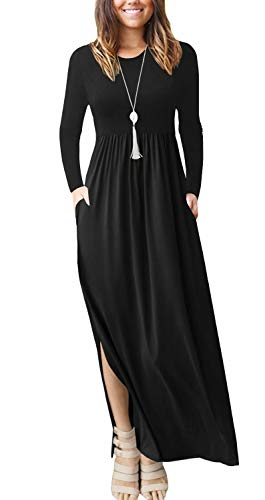 LACOZY Women's Casual Loose Split Maxi Dresses with Pockets Long Sleeve Beach Long Dress Black Small (4/6)