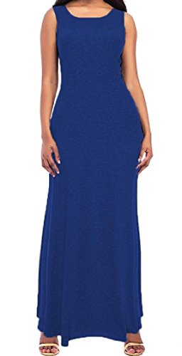 Skinny Neck Long Cotton Sleeveless Solid Blue Crew Sundress Women Coolred H7n66