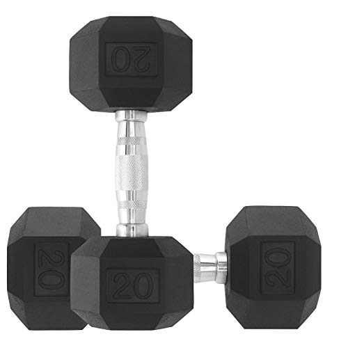 DPFIT 20lb Barbell Weights Dumbbells Set with Free Jump Rope, Pair of 2 Hex Neoprene Coated Heavy Dumbbells Weights 20…