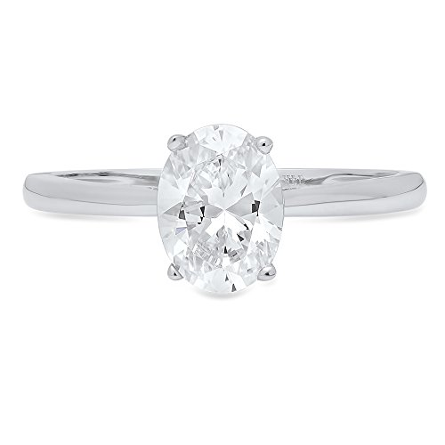 (1.0 ct Brilliant Oval Cut Solitaire Highest Quality Moissanite Ideal VVS1 D 4-Prong Engagement Wedding Bridal Promise Anniversary Ring in Solid Real 14k White Gold for Women, Size 6.75)