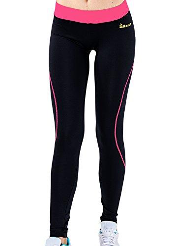 Lange Strumpfhosen für Frauen abholen SALM Leggins breite Taille Lachs Farbe elastische Sport undurchsichtig Hosen ROSSO Lycra Schwarze Gymnastik Pilates laufen Lauf Gym