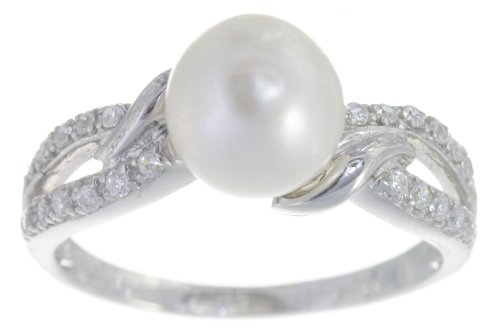 Classical 925 Sterling Silver 8.0mm Freshwater Cultured Pearl Women Ring with Cubic Zirconia CZ