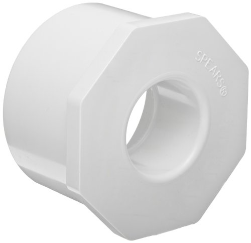 Spears 437 Series PVC Pipe Fitting, Bushing, Schedule 40, White, 1-1/4