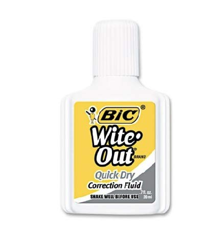 - Bic Wite-Out Quick Dry Correction Fluid, 20ml Bottle, White (12 Count)