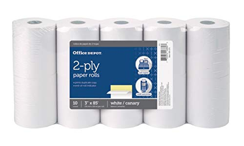 - Office Depot 2-Ply Paper Rolls, 3in. x 85ft, Canary/White, Pack of 10, 109275