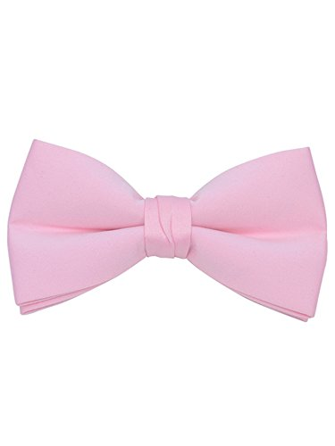 (Young Boy's Pink Pre-tied Clip On Bow Tie - Formal Tuxedo Solid Color)