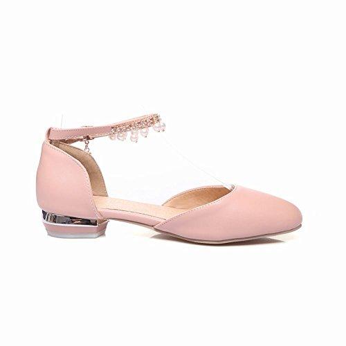 Carolbar Beaded Chains Strap Womens Ankle Pink Sandals Lolita Rhinestones Rww7vqT
