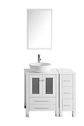 "TONYRENA Modern 36"" Bathroom Vanity Set - Cabinet With Ceramic Sink Top, Faucet, Flexible Drain & Mirrors, White"