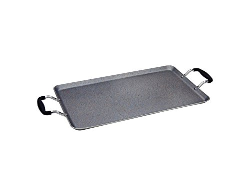 Home N Kitchenware Collection Aluminum forged Rough Surface Marble Griddle, Rectangle Grill Pan, Non-stick, Heavy Gauge Aluminum,19
