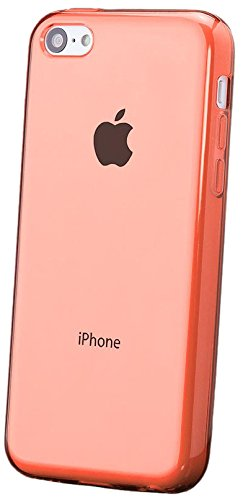 iCues | Compatible with Apple iPhone 5C | Transparent TPU Case Orange | [Screen Protector Included] Clear Rubber Cover Crystal Transparent Silicone Shell TPU - Orange 5c Protective Case Iphone